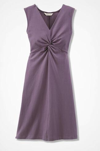 Twist-Front Knit Dress, Mauve, large