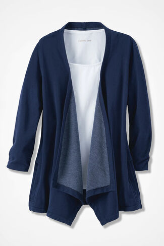 French Terry Flyaway Cardigan, Navy, large