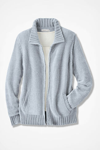 Zip-Front Chenille Cardigan, Dove Grey, large