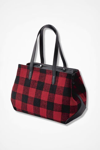 Buffalo Check Flannel Tote, Fresh Red, large