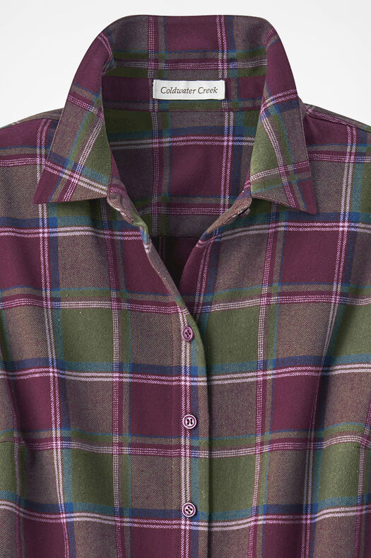 Northcountry Flannel Shirt, Cypress/Wine, large