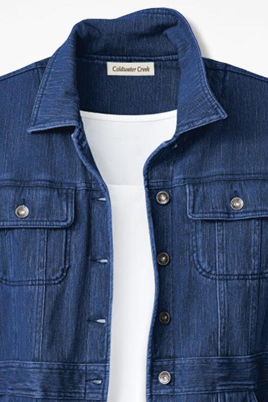 Denim Jacket Knitting Pattern : Urban Trails Knit Denim Jacket - Coldwater Creek