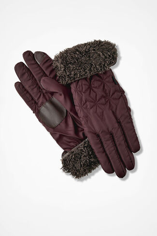 Fleeced-Lined Quilted Gloves, Wine, large