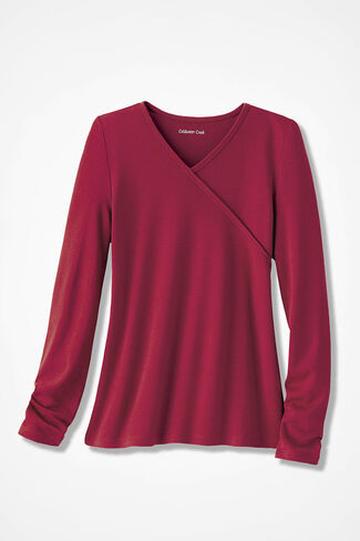 Faux Wrap Essential Solid Supima® Tee, Dover Red, large