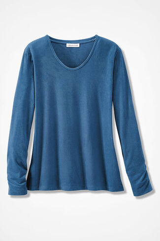 Suede-Touch Soft V Tee, Aspen Blue, large