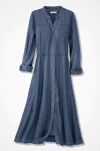Tencel® Take-Me-There Shirtdress, Medium Blue Wash, large