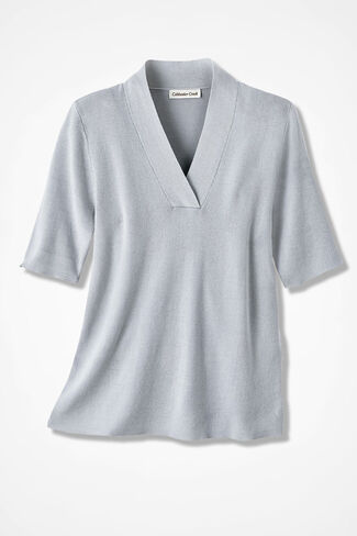 Crossover V-Neck Pullover, Dove Grey, large