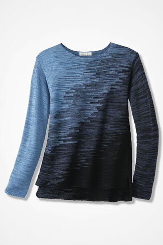 Ombré Skies Sweater, Navy, large