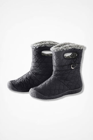 """Vista"" Quilted Fleece Boots by Walk With Me™, Black, large"