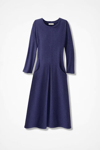 Anytime Crew-Neck Knit Dress, Deep Thistle, large