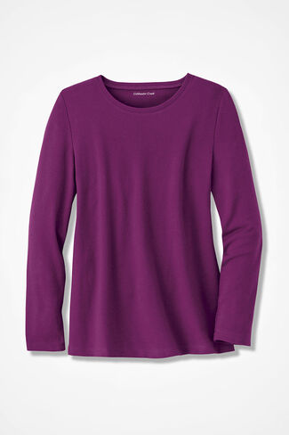 Interlock Knit Tee, Currant, large