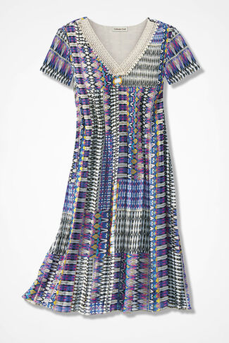 Patchwork Potpourri Mini-Pleat Dress, Blue Multi, large