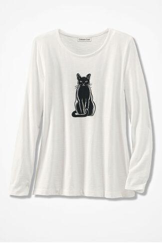 Cat Fancier Textured Tee, White, large