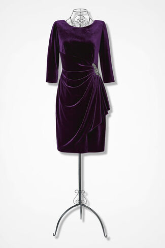Velvet Opulence Dress by Alex Evenings, Dark Plum, large