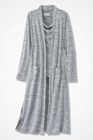 Long Story Open Duster, Silver, large