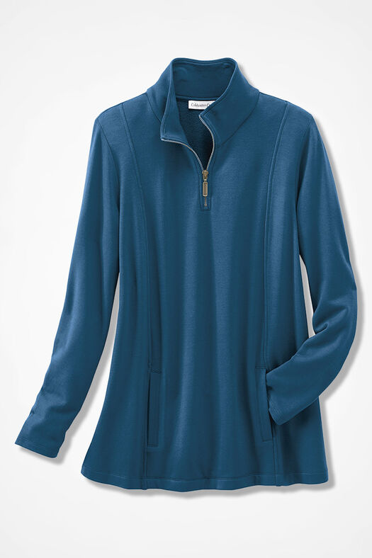 Superbly Soft Fleece Zip-Neck Pullover, Peacock, large