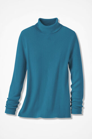 Ribbed Turtleneck Sweater, Mallard Blue, large