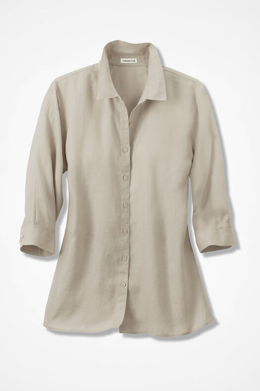 Linen Big Shirt, Flax, large