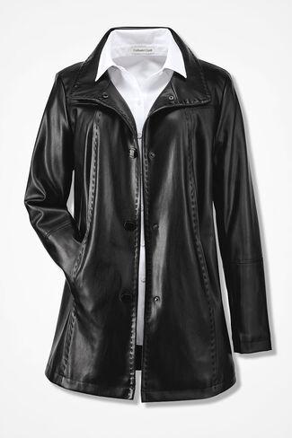 Faux Leather Coat, Black, large