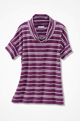 Relaxed French Terry Cowlneck, Currant, large