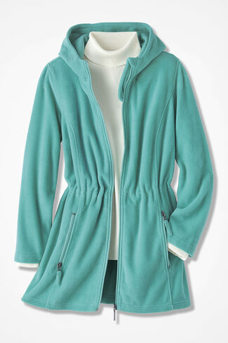 Great Outdoors Fleece Anorak, Bright Aqua, large