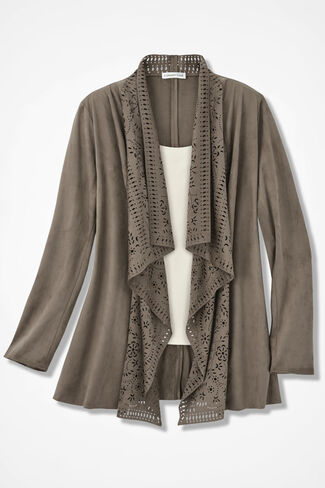 Cutwork Faux Suede Jacket, Desert Taupe, large