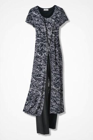 Brushstroke Duster Pants Set, Black Multi, large