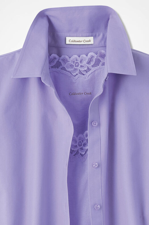 Long-Sleeve Easy Care Shirt, Pale Lavender, large