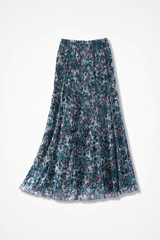 Dappled Floral Mesh Knit Skirt, Multi, large