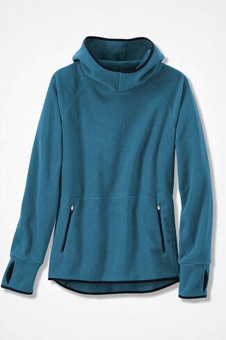 Microfleece Hooded Pullover, Mallard Blue, large