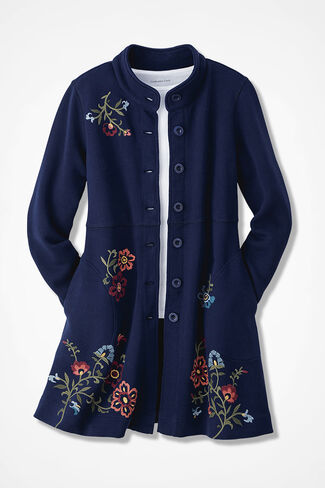 Highmount Embroidered French Terry Jacket, Navy, large
