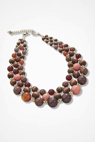 Coral and Wood Bead Necklace, Brown, large