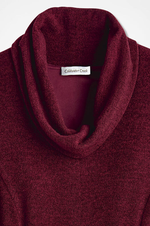 Anytime Cowl Neck- Solid Heather, Wine, large