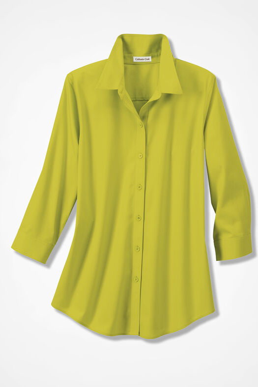 Three-Quarter Sleeve Easy Care Shirt, Citron, large