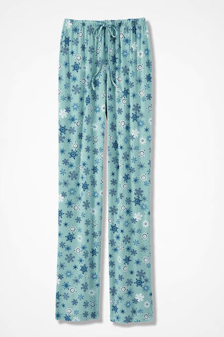 Snowflake Knit PJ Pants, Aqua, large