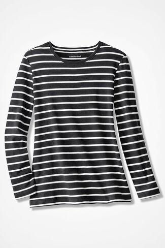 Striped Interlock Knit Tee, Black, large