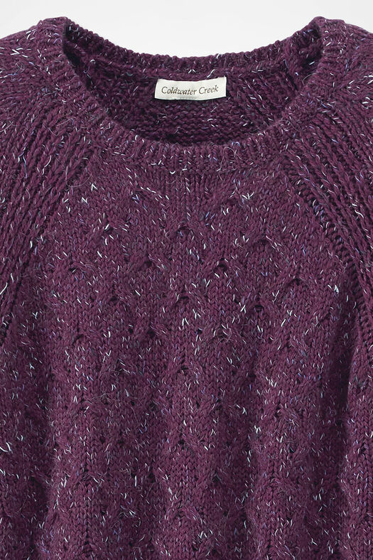Gently Cabled Crewneck Sweater, Mulberry, large