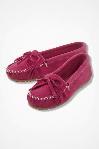 """Kilty"" Suede Moccasins by Minnetonka®, Pink, large"