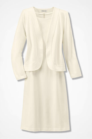 Ponte Bolero Jacket Dress, Cream, large