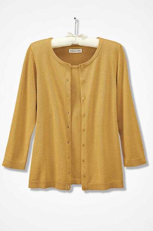 Three-Quarter Sleeve Classic Cardigan, Saffron, large
