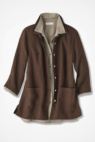 Easy Linen Shirt Jacket, Brown, large