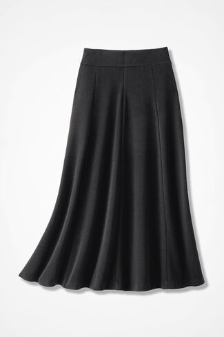 Signature Knit Crepe Skirt, Black, large