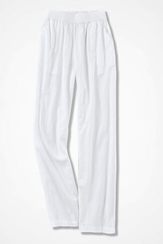 Crinkle Cotton Pants, White, large