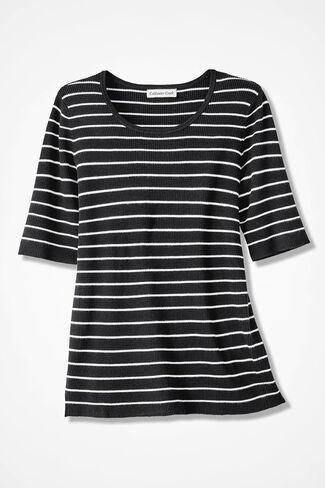 Striped Ribbed Elbow-Sleeve Sweater, Black, large