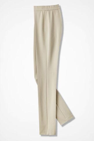 NEW Summer-Weight Ponte Slim-Leg Leggings, Alabaster, large