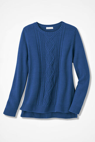 Wintertide Cabled Sweater, Lapis, large