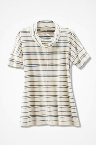 Relaxed French Terry Cowlneck, Ivory, large
