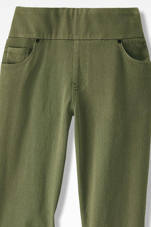 Knit Denim Pull-On Slim-Leg Jeans, Loden, large