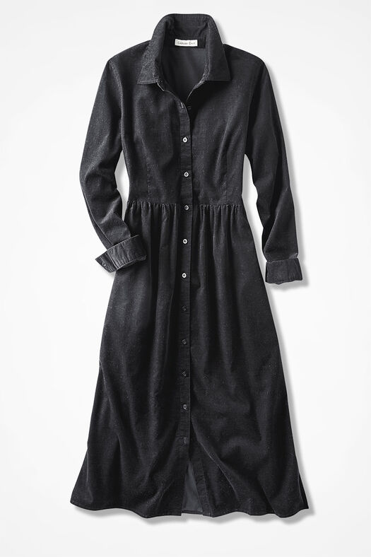 Pincord Shirtdress, Black, large