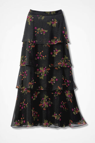 Flowing Tiers Print Skirt, Black Multi, large
